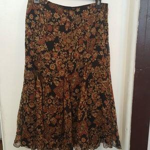 Jones New York silk black flower skirt